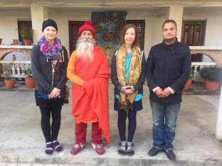 My friend Lauren and I with Guru Dev and Suprabhat, Kathmandu 2017