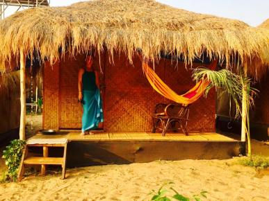 Our hut on the beach in Goa, India 2017
